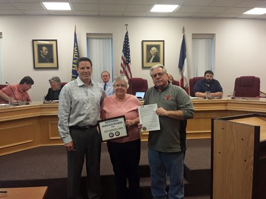 Mayor Randolph Presents Mayors Day of Recognition Proclamation to RSVP Director Cindy Steflik and RSVP Volunteer Gary Steflik